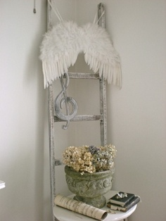 angel wings on chair